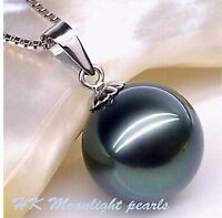 Tahitian Black SHELL Pearl(12mm) pendant S925 Silver Necklace lady/Mum gift