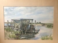 Original Signed Watercolor Painting - Artist B. Hamilton - Dock Seascape Marina