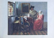 Johannes Vermeer van Delft HERR UND DAME BEI WEIN Druck aus ca. 1920 old print