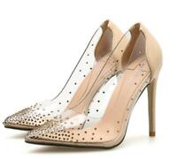 Womens PVC Clear Transparent High Heel Stiletto Pointed toe Shoes Pumps Slip on