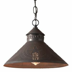 Stockbridge Shade Light with Star in Kettle Black Punched Tin