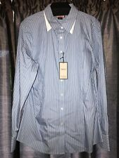 "Thomas Pink Ladies ""Flower"" Blue/ White Stripped Tailored Casual/Office Shirt 16"