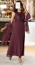 Marken Abendkleid aus Chiffon m. edler Stola bordeaux Gr. 48, 50, 52  0919847366