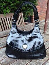 Vintage Retro 60s Patent Leather Look Black Clutch Handbag Shoulder Bag Purse