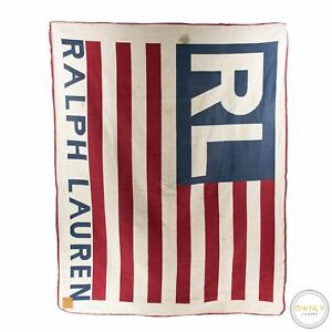 Ralph Lauren Red White Blue American Flag Baseball Stitch Hem Throw Blanket