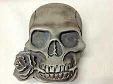 Steampunk Belt Buckle Skull With Rose Pewter Heavy Metal Lead Free