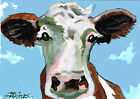 ACEO mixed media painting of a cow (an original-not a print or copy)
