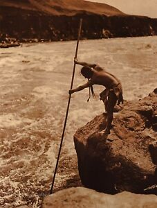 1920/90 EDWARD CURTIS Wishham Indian Salmon Fisherman GOLDTONE Photo Art 11x14