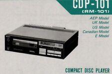SONY CDP-101, RM-101 Schematic Diagram Service Manual Repair Schaltplan