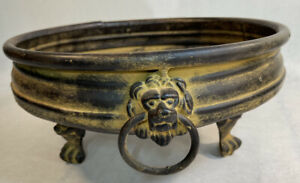 Decorative Footed Bowl Lion Ring Handles Tabletop Centerpiece Vintage Look
