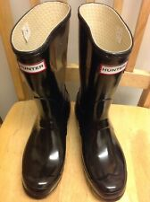 Ladies Gloss Hunter Wellies Wellington Boots Black Size UK 4