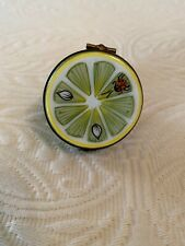 "Limoges Hand-painted Green Lime with Ladybug ""Peint Main"" France Trinket Box"