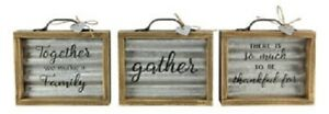 Three Galvanized Metal Box Signs with Wooden Frames and Metal Handles