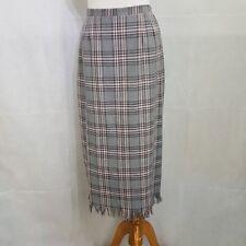 Gray and Pink Plaid Skirt 10P Petite Fringe Trim Long Elastic Waist Zip back