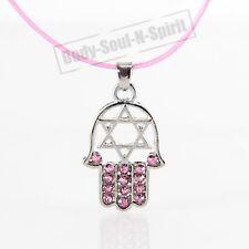 "HAMSA ROSA ""Estrella de David"" Cristales Collar tono ROSA Amuleto colgante"