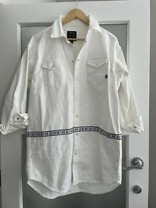 PE Nation White Oversized Denim Button Up Mini Shirt Dress As New M