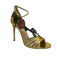 Gucci Ophelia Embroidered Sandal - Metallic Leather Heels Size EU 40 / UK 7
