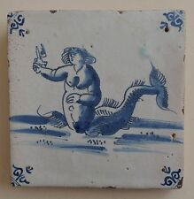 "17th Century DUTCH DELFT TILE SEA CREATURE ""MERMAID WITH A BIRD"""