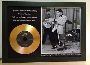 ELVIS PRESLEY 'HOUND DOG' SIGNED PHOTO WITH GOLD DISC MEMORABILIA GIFT