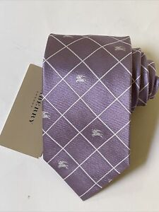 "NEW Burberry Taro White Plaid Mans 100% Silk Tie Authentic Italy 3.5"" 0350367"