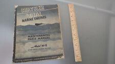 Vtg Original 1944 Chrysler Marine Engine M-8 Shop-Manual-Parts Catalog used boat