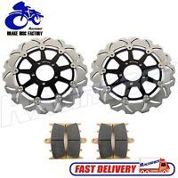 99-07 Pair Front Brake Disc Rotors + Pads for SUZUKI Hayabusa GSX1300R K1-K7