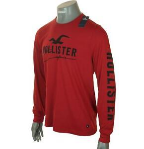 Homme Authentique Hollister Manches Longues Logo Brodé T Shirt M L XL Dark Rouge
