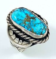 19g LARGE OLD Navajo Sterling Silver KINGMAN Spiderweb Turquoise MENS Ring Sz 11
