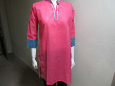 New India 100% Cotton Women Ladies Chinese Collar Pink Top with Brocade Blouse