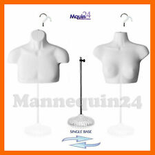 Male & Female Mannequin Torsos White 2 Hangers & 1 Stand Body Form