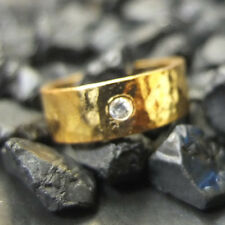Handmade Hammered Wedding 7mm Band Ring W Zircon 22K Gold Over Sterling Silver
