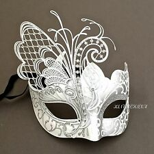 High Quality White Silver Butterfly Laser Cut Metal Venetian Masquerade Mask