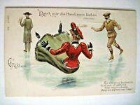 Vintage German Postcard w/ Ice Skaters & Woman Falling - Card Has Glitter   *