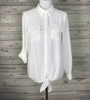 Peter Nygard Women's White Button Front Roll Tab Sleeve Tunic Blouse Size Small