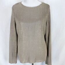 Chicos Sweater Sz 2 12/14 Tan Metallic Long Sleeve Pullover