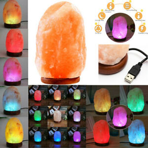 Himalayan Natural Rock Salt Lamp Crystal USB 7 Colours Changing Glows LED Bulb