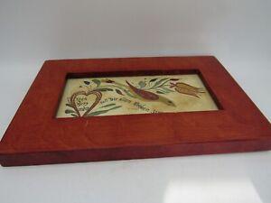 "Sanda Sue Weller Signed Pennsylvania Fraktur Stencil Watercolor  6 x 9 1/2"""