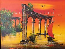 STUNNING! MID CENTURY MODERN ORIG OIL PAINTING! 50s Art Eames Vtg Atlantis Ruins