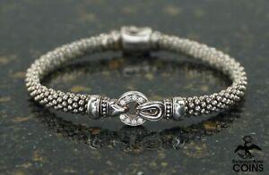 Lagos Caviar Sterling Silver 0.08 CTW Diamond Bracelet