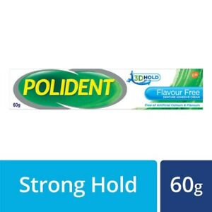 POLIDENT Flavour Free Denture Adhesive Cream 60g -Helps Keep Food Particles