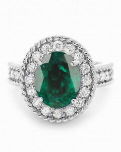 925 Silver With 2.10Ct Oval Shape Natural Zambian Green Emerald Solitaire Ring