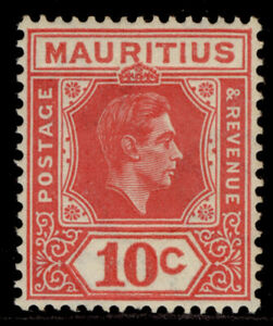 MAURITIUS GVI SG256c, 10c pale reddish rose, NH MINT. Cat £42. PERF 15 X 14