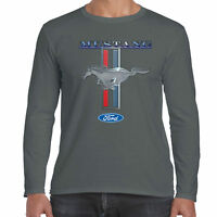 Mens Ford Mustang Long Sleeve T Shirt Genuine Classic American V8 Muscle Car