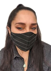 Black Horizontal Pinstripe Smart High Quality Face Covering Face Mask UK
