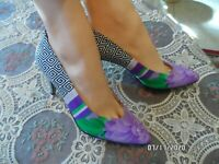 New Genny Fabric Floral Printed Pumps Purple Multi Size 7.5