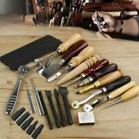 18PC Vintage Leather Craft Tools Kit Stitching Sewing Beveler Punch Working Tool