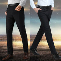 Men's Casual Fitted Formal Straight Dress Pants Smooth Business Office Trousers