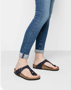 Birkenstock Women's Shoes Gizeh Blue Thong Sandals  Leather Size 7 38