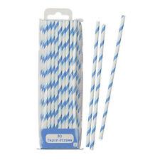 Mix & Match Blue & White Stripe Striped Stripy Paper Party Straws Pack of 30