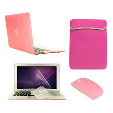 """5 in 1 Rubberized PINK Case for Macbook Air 11""""+Key Cover+LCD +Sleeve Bag+Mouse"""